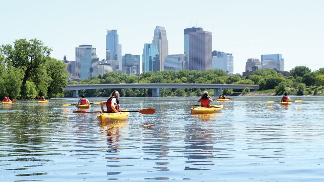 Minneapolis skyline with Mississippi River