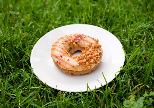Donut on a plate in the grass.