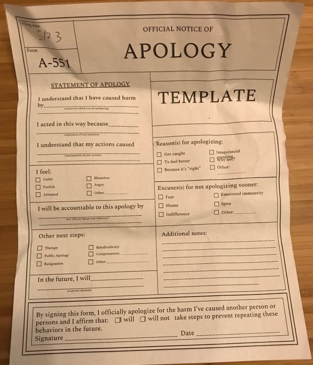 The Archive of Apologies and Pardons