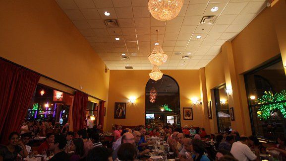 dimly lit banquet room