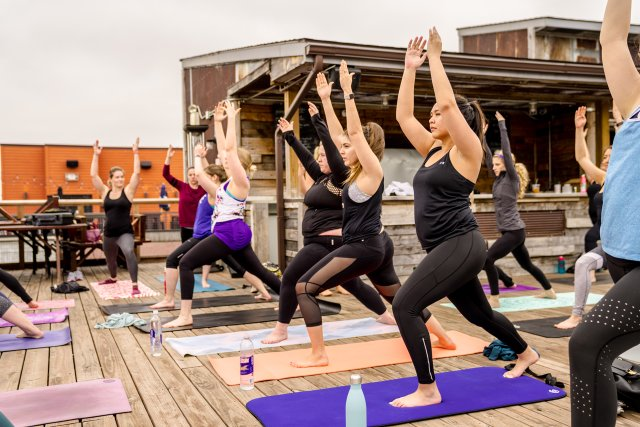 Yoga class on a rooftop