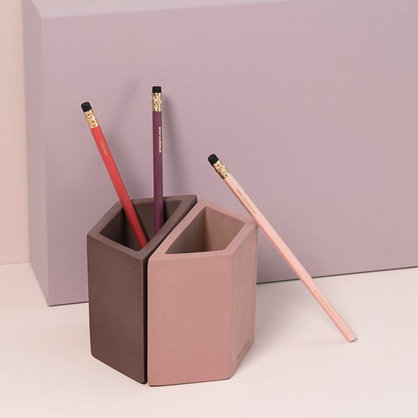 Concrete pencil holders in on-trend hues (set of two for $24), by Wit & Delight