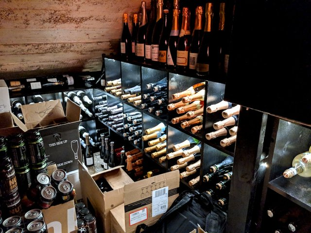 Champagne wine cellar at Trapeze Bubbles & Toasts