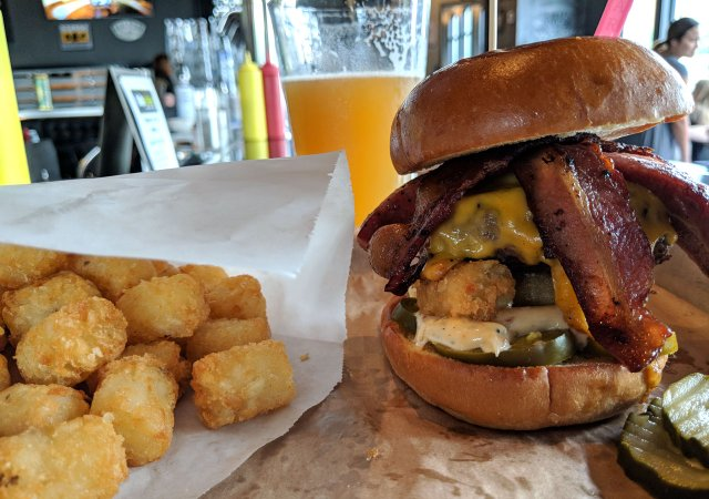 The Meat Your Maker burger from the Suburban restaurant in Excelsior