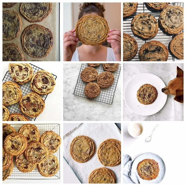 Instagram photo of famous pan-banging chocolate chip cookies cookies