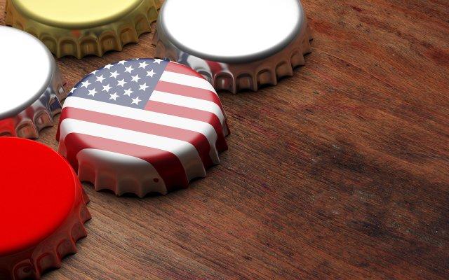 American flag bottle cap