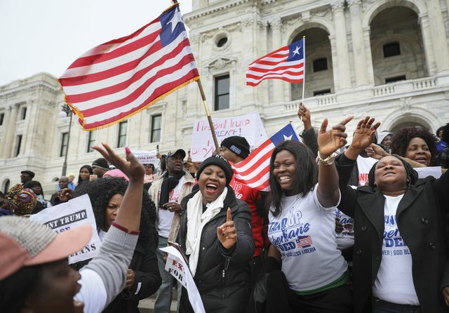 Liberian Americans protest in St. Paul at the Minnesota State Capital