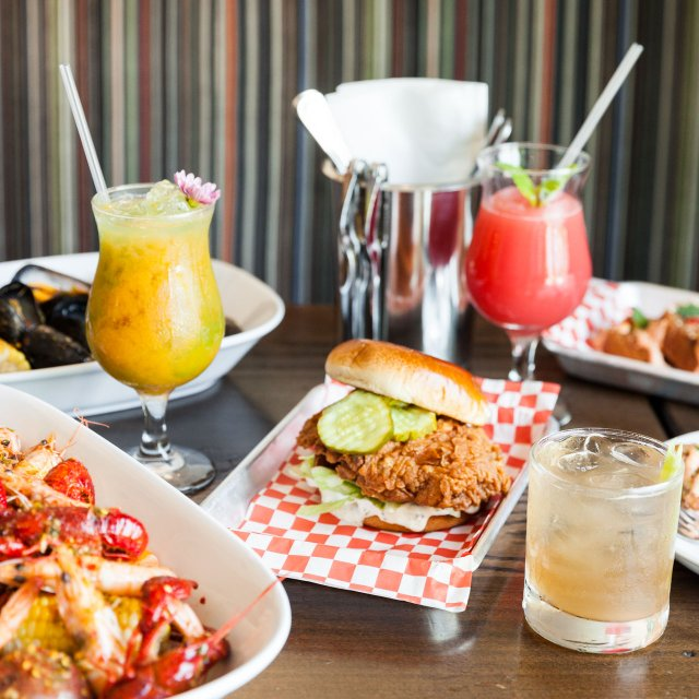 Fried chicken sandwich and drinks from Grand Catch