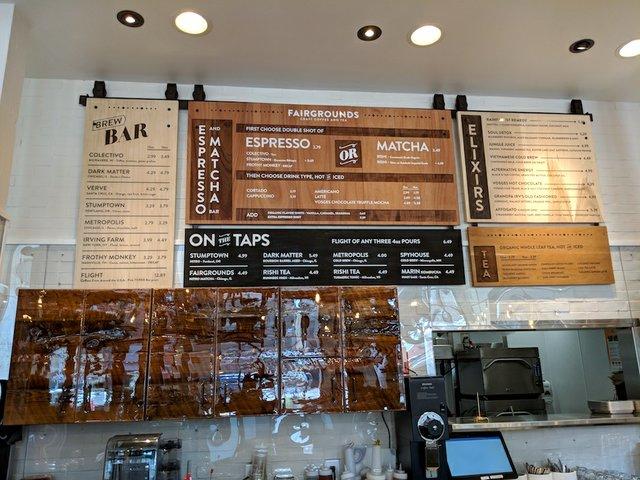 Menu at Fairgrounds Coffee Co.