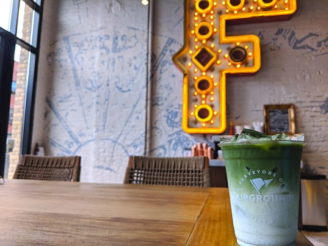 Matcha iced latte at Fairgrounds Coffee Co.