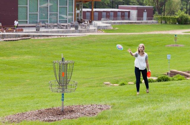 Disc golfing at Hyland Hills