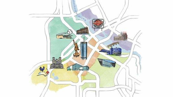 Map of downtown Minneapolis neighborhoods