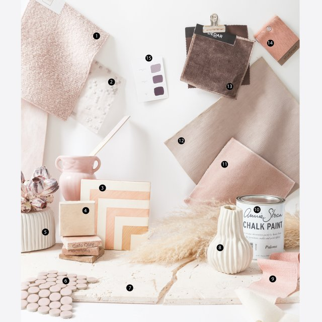 Numbered collage of blush-colored products