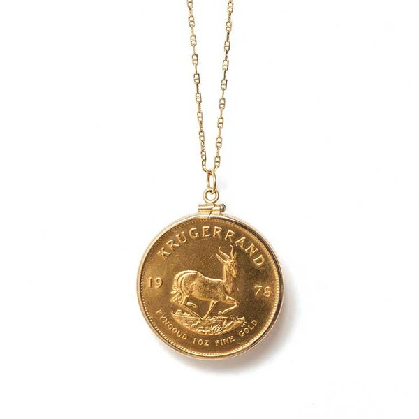 <strong>Vintage find</strong> Local jeweler R.F. Moeller turned this Krugerrand coin I inherited from my great-aunt Madeline into a pendant.