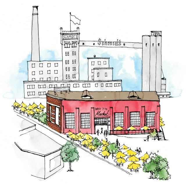 Illustration of the Keg and Case Market in St. Paul