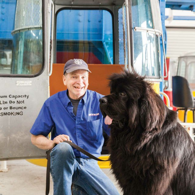 State Fair Skyride owner Don McClure with Newfoundland Malcolm