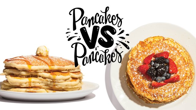 Pancakes from Colossal Cafe and pancakes from Hell's Kitchen