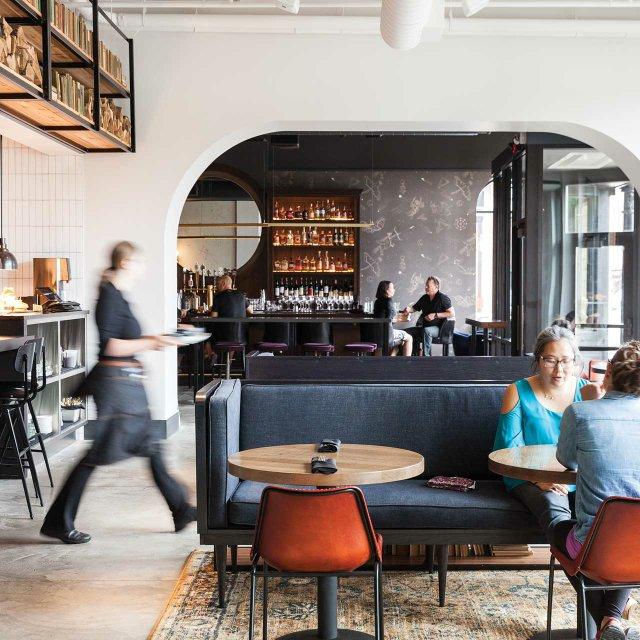 Feller interior and Long Goodbye cocktail bar at Hotel Lora