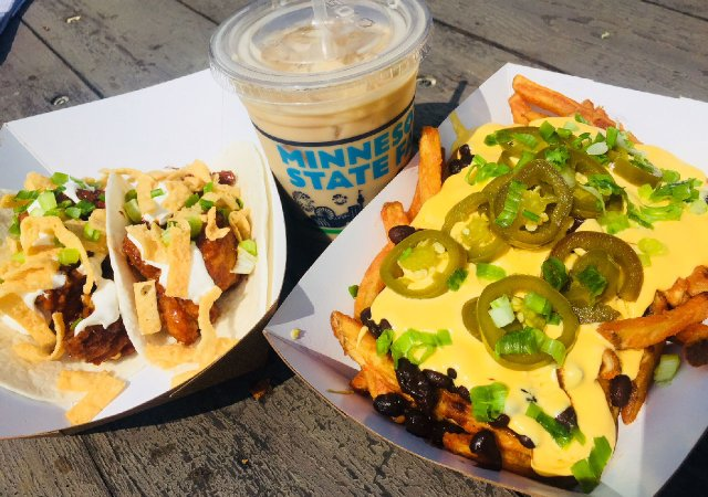 Tacos and fries from Taco Cat at the Minnesota State Fair