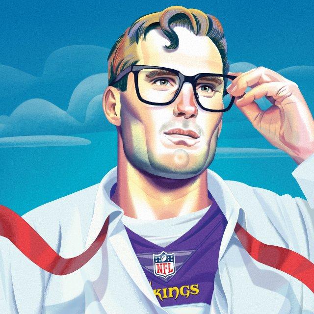 Illustration of Kirk Cousins as Clark Kent