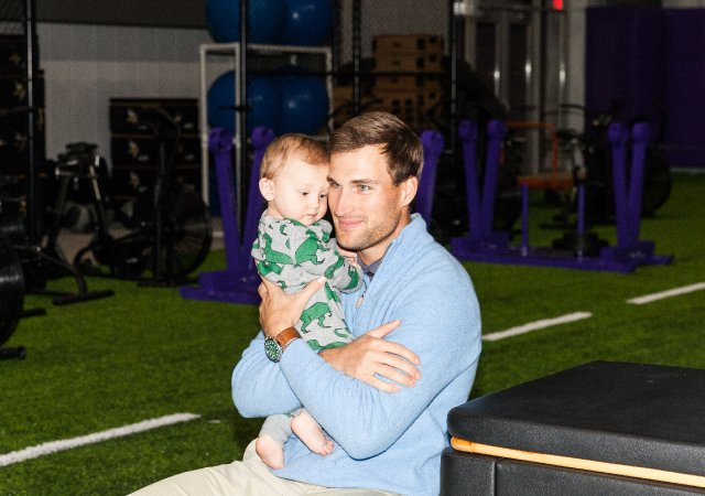 Vikings Quarterback Kirk Cousins with his son, Cooper