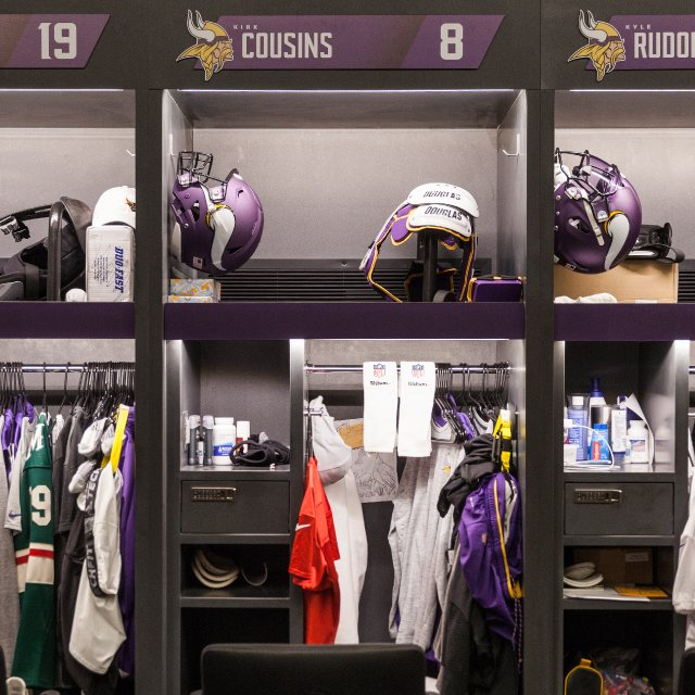 Kirk Cousins' locker at Vikings Practice Facility