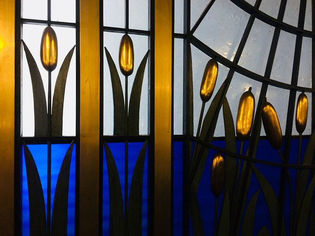 Stained glass detail from private dining room at Fhima's