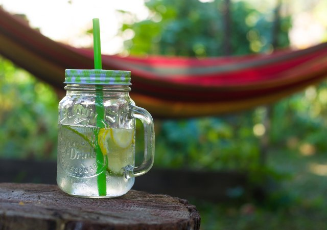Lemonade in front of a hammock