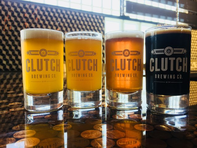 Opening beers at Clutch Brewing