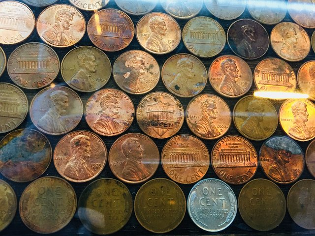 Pennies in the bar at Clutch Brewing upstairs at Keg & Case