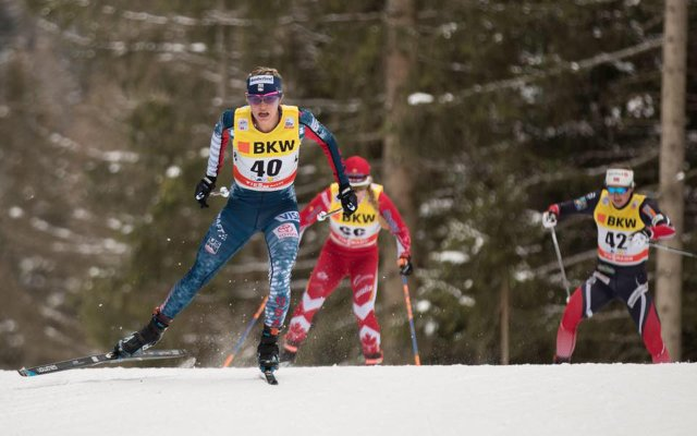 Jessie Diggins skiing