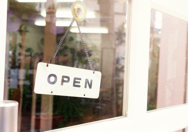 Open sign on a restaurant door