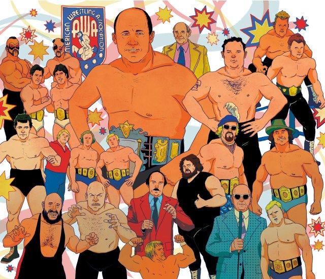 Illustration collage of Minnesota wrestlers