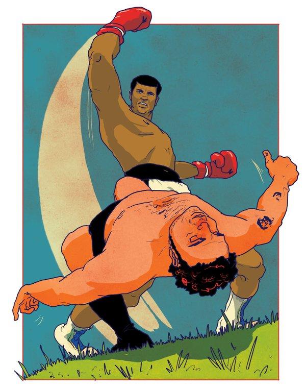 Illustration of Muhammad Ali knocking out Kenny Jay