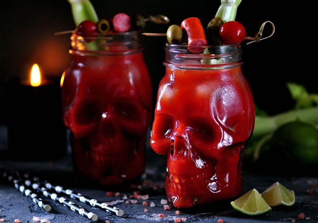 Bloody Mary drink in a skull glass