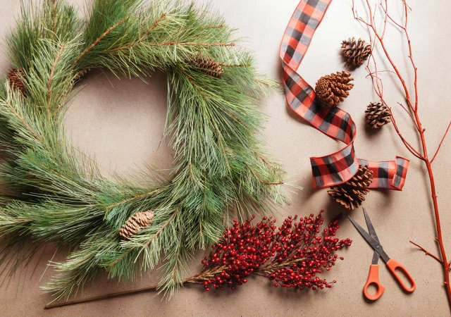 Wreath and ribbon for holiday decorating