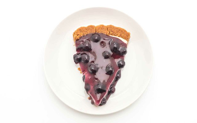 Slice of blueberry pie on a plate