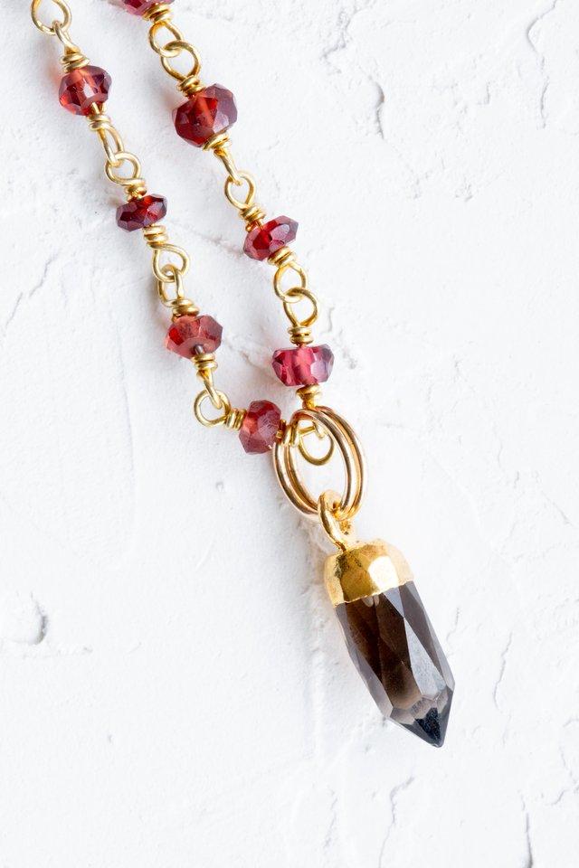 Garnet and Smoke Quartz Necklace