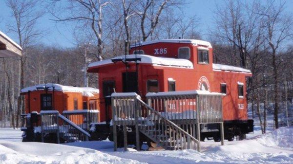 Vintage train car at Maplelag Resort