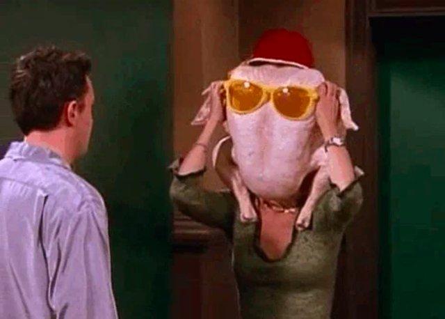 Turkey on Monica's head
