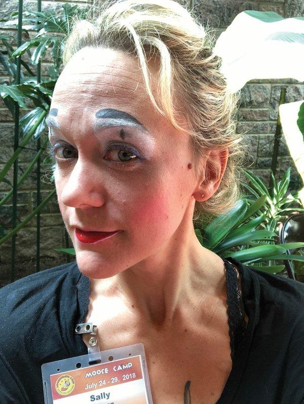 Sally Franson in clown makeup