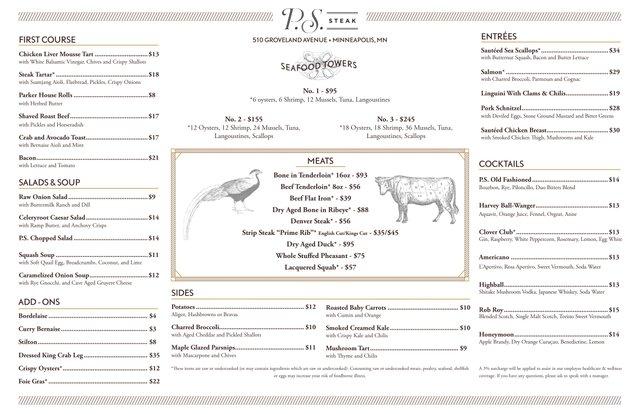 P.S. steak menu