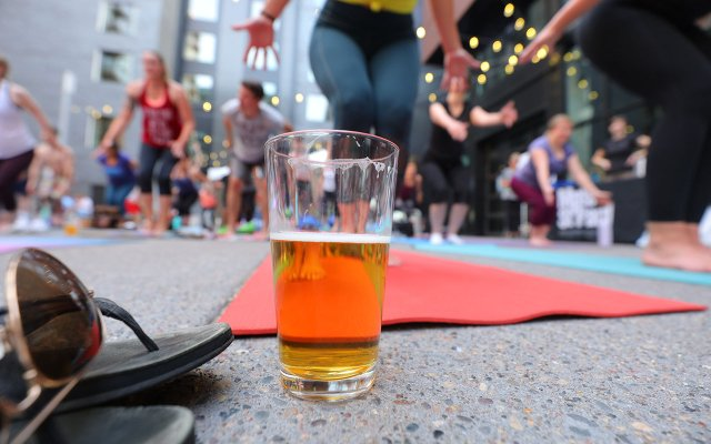 A glass of beer at yoga