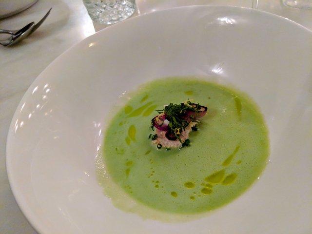green foam in a big white bowl