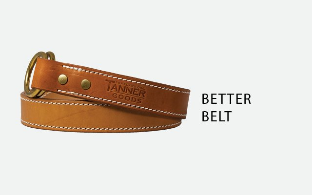 Leather double ring belt by Tanner Goods
