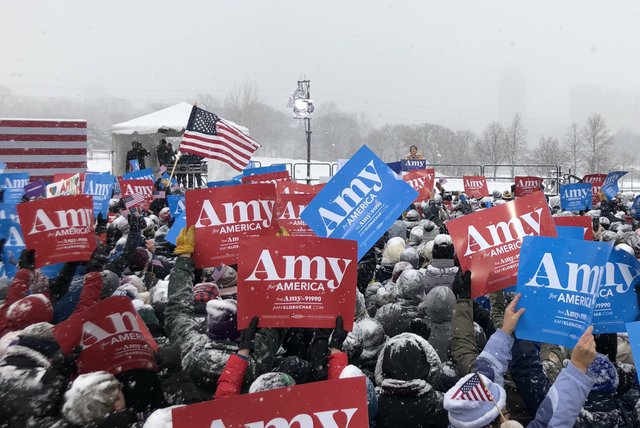 Supporters of Amy Klobuchar gathering at Boom Island Park