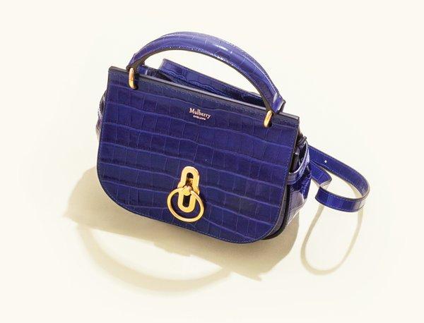 Blue croc top-handle satchel