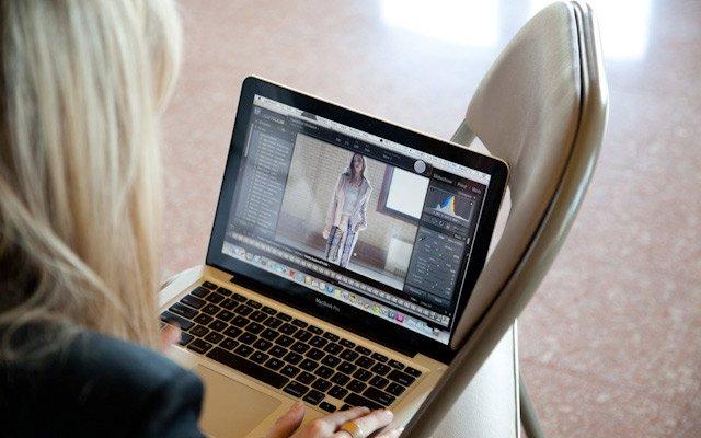 Art director, Liz Gardner, editing a photo for Mpls.St....