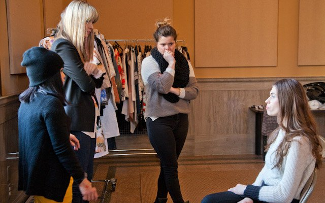Liz Doyle, Liz Gardner and a makeup artist discuss a lo...