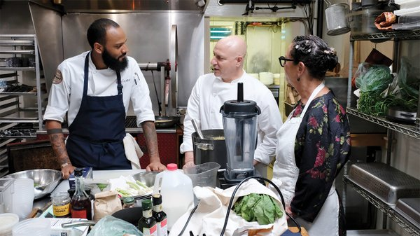 Justin Sutherland and Tom Colicchio on Top Chef